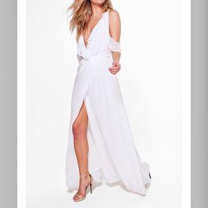 Chiffon Wrap Maxi Dress- White